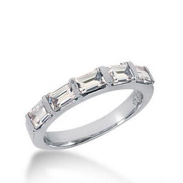 14k Gold Diamond Anniversary Wedding Ring 5 Straight Baguette Diamonds 1.00ctw 389WR160314K
