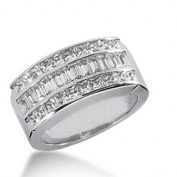 14k Diamond Anniversary Ring Princess Cut and Straight Baguette Diamonds 2.52ctw 393WR164614K