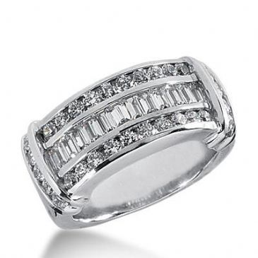14k Gold Diamond Anniversary Wedding Ring 28 Round Brilliant, 12 Straight Baguette Diamonds 1.16ctw 395WR164814K