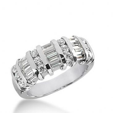 14k Gold Diamond Anniversary Wedding Ring 12 Round Brilliant, 9 Straight Baguette Diamonds 1.20ctw 396WR164914K