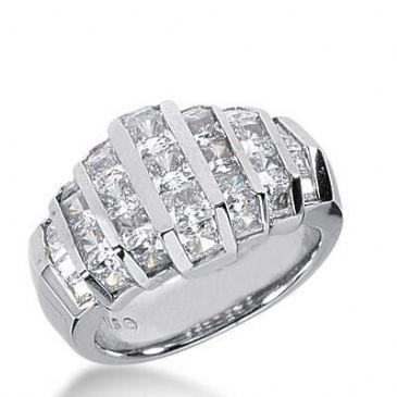 14K Gold Diamond Anniversary Wedding Ring 31 Princess Cut Diamonds Total 3.53ctw 399WR165214k