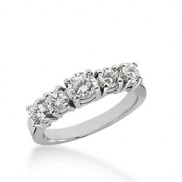 14k Gold Diamond Anniversary Wedding Ring 5 Round Brilliant Diamonds Total 0.79ctw 402WR166114K