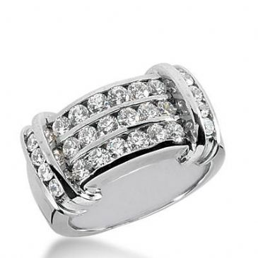14k Gold Diamond Anniversary Wedding Ring 26 Round Brilliant Stones Total 1.14ctw 407WR169114K