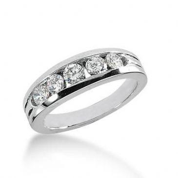 14k Gold Diamond Anniversary Wedding Ring 5 Round Brilliant Diamonds Total 0.59ctw 410WR170014K