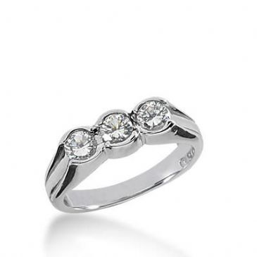 14k Gold Diamond Anniversary Wedding Ring 3 Round Brilliant Diamonds Total 0.51ctw 412WR170214K