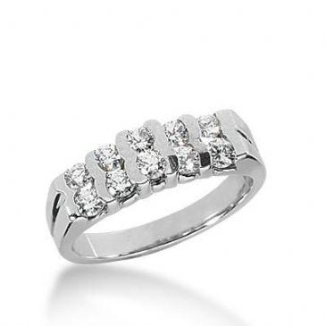 14k Gold Diamond Anniversary Wedding Ring 10 Round Stone 0.05 ct Total 0.50ctw 413WR170314K