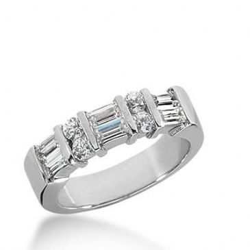 14k Gold Diamond Anniversary Wedding Ring  4 Round Brilliant Diamonds, 6 Straight Baguette Total 1.00ctw 421WR173114K