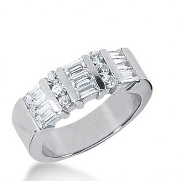 14k Gold Diamond Anniversary Wedding Ring 6 Round Brilliant Diamonds, 9 Straight Baguette Total 1.11ctw 422WR173214K