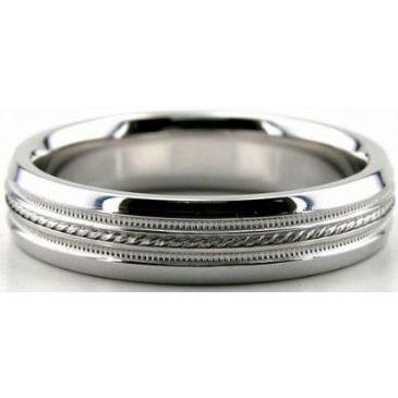18K Gold 5mm Diamond Cut Wedding Band 636