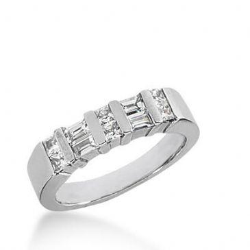 14k Gold Diamond Anniversary Wedding Ring 6 Princess Cut Diamonds, 4 Straight Baguette Total 0.62ctw. 424WR173414K