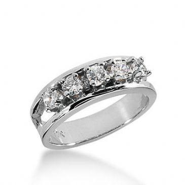 14k Gold Diamond Anniversary Wedding Ring 5 Round Brilliant Diamonds Total 0.60ctw 430WR175514K