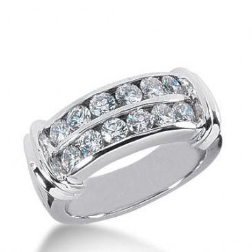 14k Gold Diamond Anniversary Wedding Ring 12 Round Brilliant Diamonds 0.10 ct Total 1.20ctw 435WR177914K