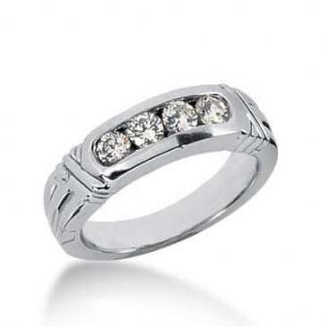 14k Gold Diamond Anniversary Wedding Ring 4 Round Brilliant 0.12 ct Total 0.48ctw 436WR178014k