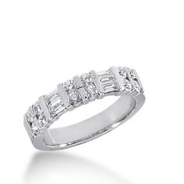 14k Gold Diamond Anniversary Wedding Ring 12 Round Brilliant, 4 Straight Baguette Stones Total 0.70ctw 442WR180114k