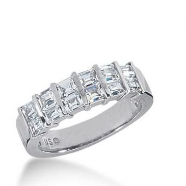 14k Gold Diamond Anniversary Wedding Ring 12 Straight Baguette Total 1.32ctw 443WR180214k
