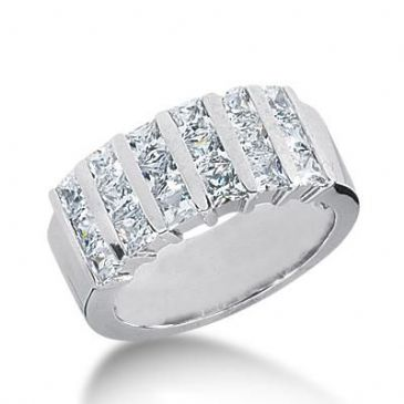 14k Gold Diamond Anniversary Wedding Ring 18 Princess Cut Stones Total 2.52ctw 444WR180314k