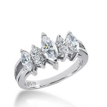 Diamond Wedding Ring  2 Marquise Cut 0.25 ct  4 Round Stones 0.05 ct  Total 0.70 ctw.  Center Stone Not Included 446-WR1809
