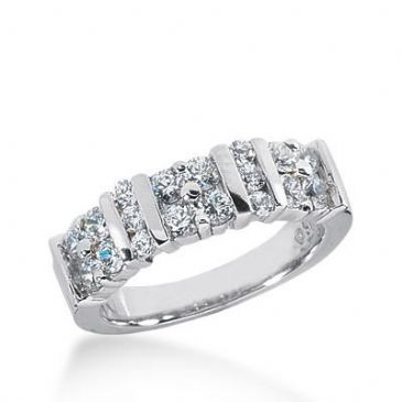 14k Gold Diamond Anniversary Wedding Ring 18 Round Brilliant Diamonds Total 1.11 ctw 447WR181114k