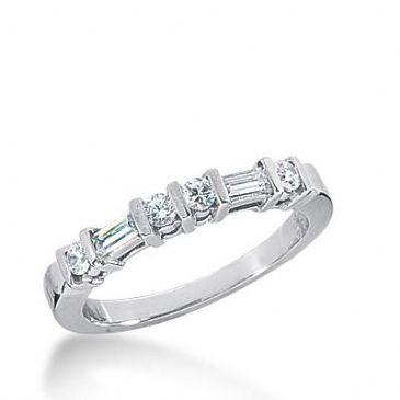 14k Gold Diamond Anniversary Wedding Ring 4 Round Brilliant Diamonds, 2 Straight Baguette Total 0.42ctw 450WR181614k