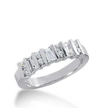 14k Gold Diamond Anniversary Wedding Ring 8 Round Brilliant Diamonds, 3 Straight Baguette Total 0.62ctw 455WR182114k