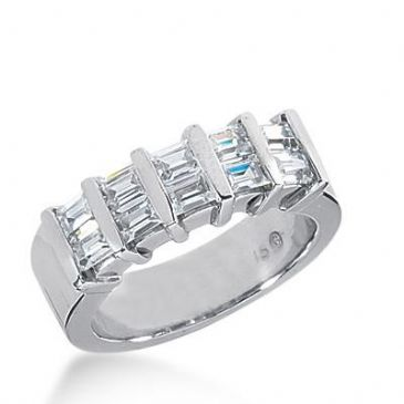Diamond Wedding Ring 10 Straight Baguette Diamonds 0.12 ct Total 1.20ctw 456WR182314k