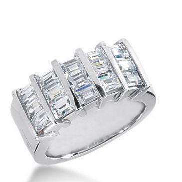 14k Gold Diamond Anniversary Wedding Ring 15 Straight Baguette Total 1.80ctw 457WR182414k