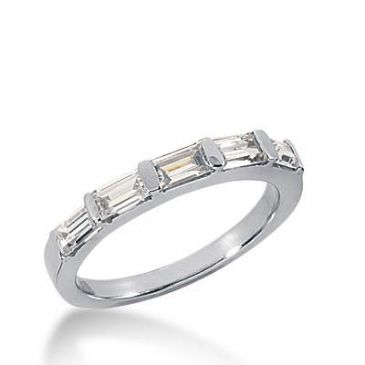 14k Gold Diamond Anniversary Wedding Ring 5 Straight Baguette Total 0.80ctw 462WR184614k