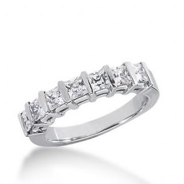 14k Gold Diamond Anniversary Wedding Ring 7 Princess Cut Diamonds Total 1.19ctw 465WR186514k