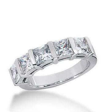 14k Gold Diamond Anniversary Wedding Ring 5 Princess Cut Stones Cut Total 2.50ctw. 466WR186614k
