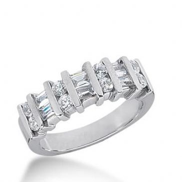 14k Gold Diamond Anniversary Wedding Ring 8 Round Brilliant Diamonds, 6 Straight Baguette Total 0.96 ctw 467WR186814k