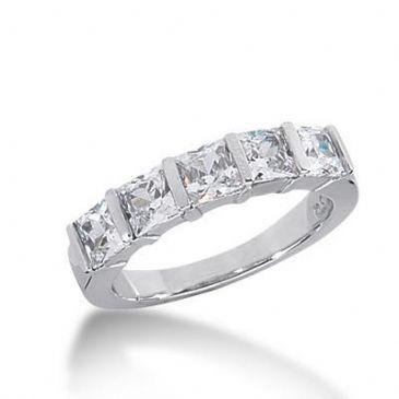 14k Gold Diamond Anniversary Wedding Ring 5 Princess Cut Total 2.00ctw 469WR188214k