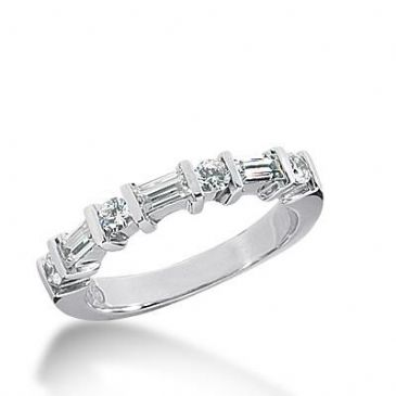 14k Gold Diamond Anniversary Wedding Ring 4 Round Brilliant Diamonds, 3 Straight Baguette Total 0.64ctw 471WR192614k