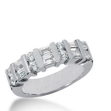 14k Gold Diamond Anniversary Wedding Ring 8 Round Brilliant Diamonds, 6 Straight Baguette Stones Total 1.20ctw 472WR192714k