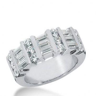 14k Gold Diamond Anniversary Wedding Ring 12 Round Brilliant Diamonds, 9 Straight Baguette Stones Total 1.92ctw 473WR192814k