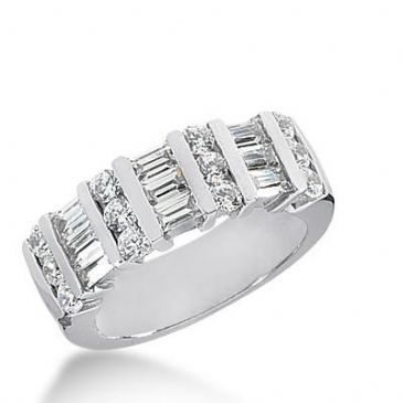 14k Gold Diamond Anniversary Wedding Ring 12 Round Brilliant Diamonds, 9 Straight Baguette Stones Total 1.50 ctw 476WR193114k