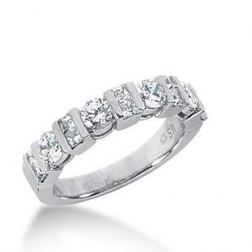 14k Gold Diamond Anniversary Wedding Ring 4 Round Brilliant Diamonds, 10 Princess Cut Stones Total 1.18ctw 478WR193614k