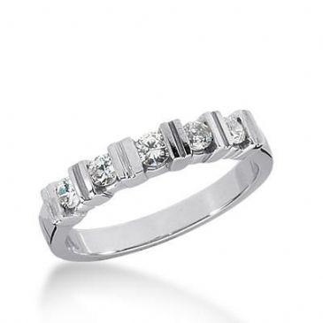 14k Gold Diamond Anniversary Wedding Ring 5 Round Brilliant Diamonds Total 0.44ctw 482WR197414k