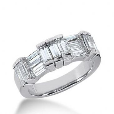 14k Gold Diamond Anniversary Wedding Ring 13 Straight Baguette Total 1.82ctw 484WR200014k