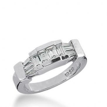 14k Gold Diamond Anniversary Wedding Ring  4 Straight Baguette Stones, 6 Tapered Baguette Total 0.80ctw 485WR200114k