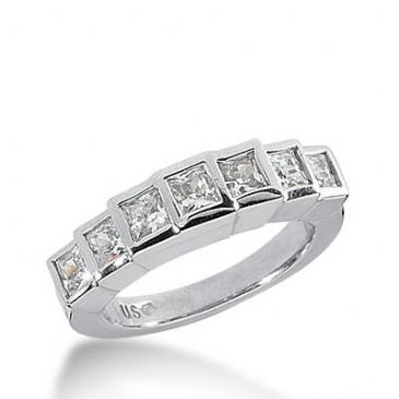 14k Gold Diamond Anniversary Wedding Ring 7 Princess Cut Diamonds Total 1.19 ctw 486WR200414k