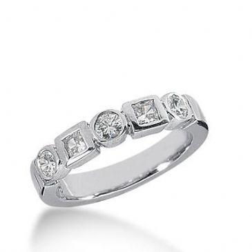 14k Gold Diamond Anniversary Wedding Ring 3 Round Brilliant Diamonds, 2 Princess Cut Stones Total 0.58ctw 487WR200714k
