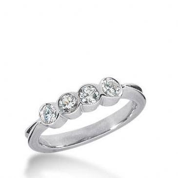 14k Gold Diamond Anniversary Wedding Ring 4 Round Brilliant Diamonds Total 0.40ctw 488WR201114k