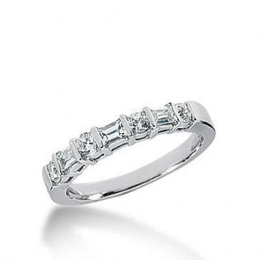 14k Gold Diamond Anniversary Wedding Ring 4 Round Brilliant Diamonds, 3 Straight Baguette Stones Total 0.44ctw 490WR201614k