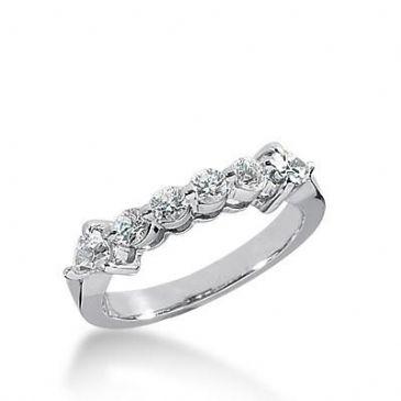 14k Gold Diamond Anniversary Wedding Ring 4 Round Brilliant Diamonds, 2 Pear Shaped Stones Total 0.56ctw 492WR201814k
