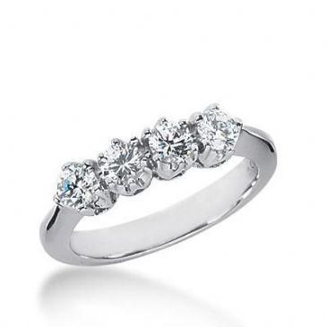 14k Gold Diamond Anniversary Wedding Ring 4 Round Brilliant Diamonds Total 0.80ctw 493WR201914k