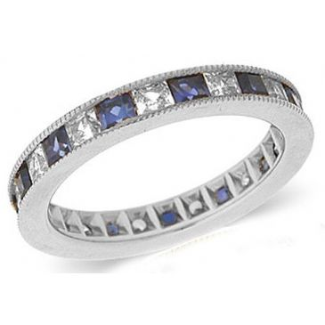 14k Channel Set 1.40ct Princess Diamond & Sapphire Milgrain Eternity Band