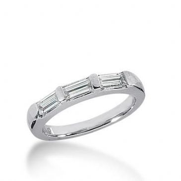 14k Gold Diamond Anniversary Wedding Ring 3 Straight Baguette Diamonds Total 0.54ctw 499WR202914k