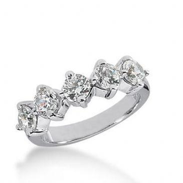 14k Gold Diamond Anniversary Wedding Ring 5 Round Brilliant Diamonds Total 1.50ctw 500WR203114k