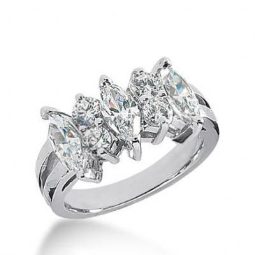 14k Gold Diamond Anniversary Wedding Ring 3 Marquise Cut Diamonds, 4 Round Brilliant Stones Total 2.10ctw 502WR203614k