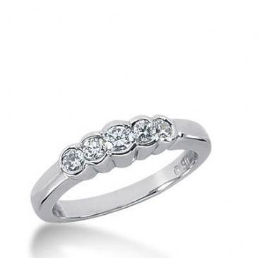 14k Gold Diamond Anniversary Wedding Ring 5 Round Brilliant Diamonds, Total 0.39ctw 507WR205614k